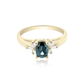 14K Yellow Gold Sapphire/Diamond Ring