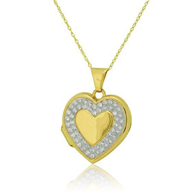 14K Yellow Gold CZ Heart Locker Pendant 50003107