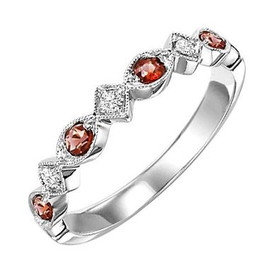 14K White Gold Garnet & Diamond Stackable Ring FR1237