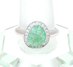 Sterling Silver Cz with Synthetic Green Stone Ring