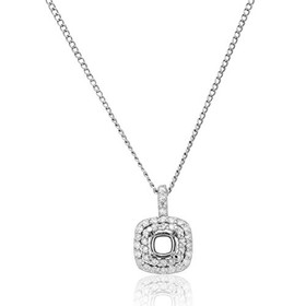 14K White Gold Diamond Pendant Setting