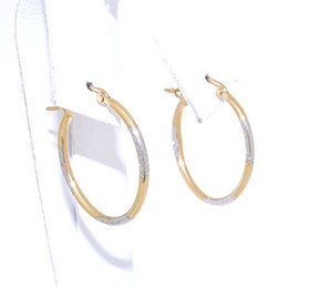 14K Yellow And White Gold Diamond Cut Oval Hoop Earrings