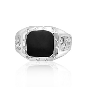 14K White Gold Onyx and Diamond Men's Ring 12002482