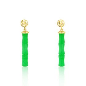 14K Yellow Gold Good Luck Jade Bamboo Earrings