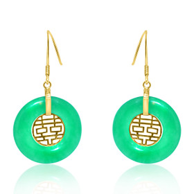 14K Yellow Gold Double Happiness Jade Hanging Earrings