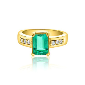 18K Yellow Gold Emerald and Diamond Ring 12002571