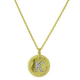 "14K Yellow Gold Diamond K Initial Adjustable 18"" Necklace"
