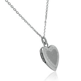 14K White Gold Diamond Cut Heart Locket Pendant Necklace