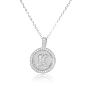 K Initial Sterling Silver Cubic Zirconia Charm Necklace 85210495