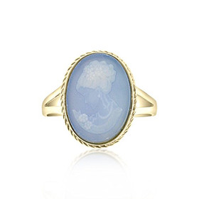 14k Yellow Gold Blue Oval Cameo Ring and Earrings Set