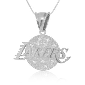 Sterling Silver Cubic Zirconia Los Angeles Lakers Charm 85210490
