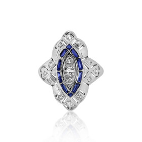 14K White Gold Sapphire and Diamond Ring 12002566