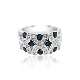 10K White Gold Sapphire and Diamond Ring 19210045
