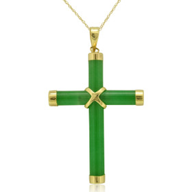 14K Yellow Gold Jade Cross Charm 51001439