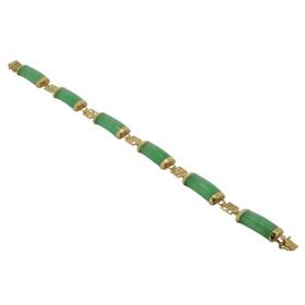 14K Yellow Gold Green  Jade 7-inch Bracelet