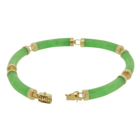 14K Yellow Gold Green Jade 7-inch Bracelet 22000697