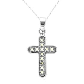 14K White Gold White And Color Enhanced Black Diamond Cross Charm 51001772