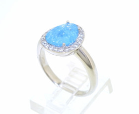 Sterling Silver Cubic Zirconia Blue Stone Ring 81210125