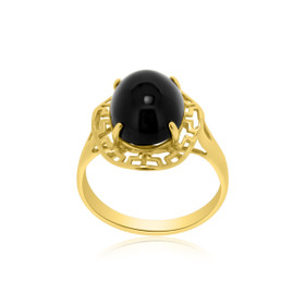 14K Yellow Gold Onyx Greek Key Ring 12001765