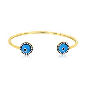 Gold Plated Silver Blue Evil Eye Adjustable Bangle 82010514