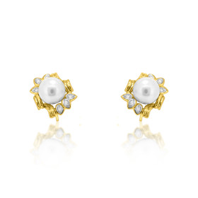 14k Yellow Gold Cultured Pearl Earrings 42002721