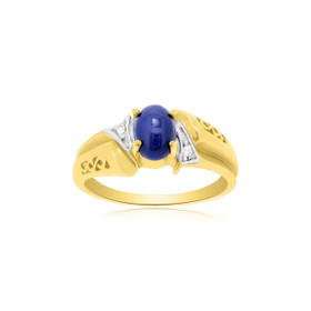 14K Yellow Gold Mens Lab-Created Blue Star Sapphire Ring