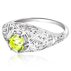 14K White Gold GIA certified Yellow Diamond Ring