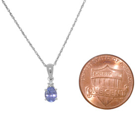 14K White Gold Pear Shaped Diamond and Tanzanite Charm