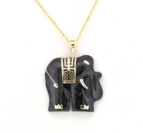 14K Yellow Gold Onyx Elephant Charm 52001711