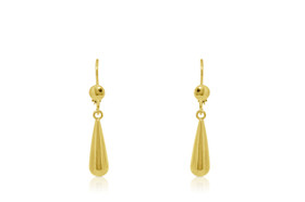 10K Yellow Gold Lever Back Hanging Earrings 49000130