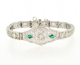 14K White Gold Diamond Emerald Bracelet 21000504