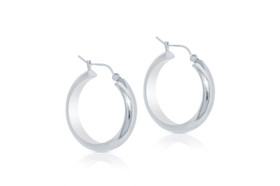 14K White Gold Hoop Earrings 40002279-E