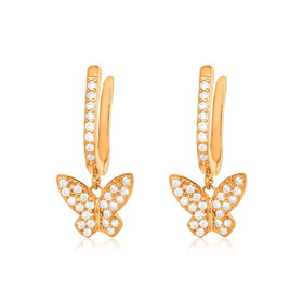 Pink Gold Plated Sterling Silver CZ Yellow Butterfly Earrings