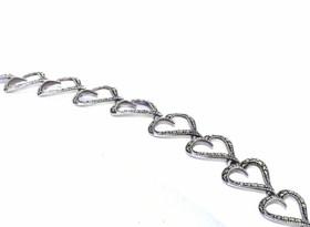 "Silver 7.5"" Marcasite Heart Bracelet"