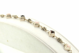"Silver 7.5"" Garnet Pink Quartz Bracelet"