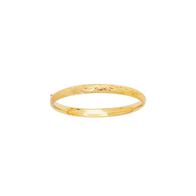 14K 5.5mm Yellow Gold Shiny Diamond Cut Bangle with Clasp+Diamond Pattern 3/16CX-0550
