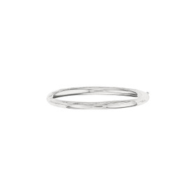 14K 8-inch White Gold 5.0mm Plain Shiny Round Dome Classic Bangle with Clasp 3/16WS-08