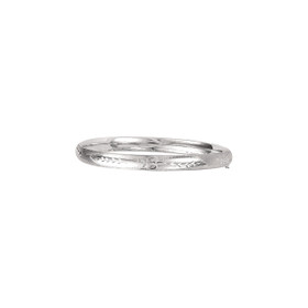 14K 8-inch White Gold 6.0mm Florentine Round Dome Classic Bangle with Clasp 4/16WFL-08