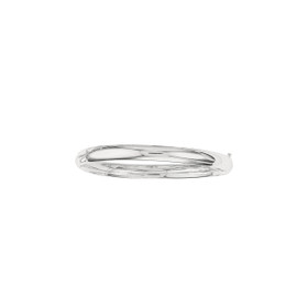 14K 7-inch White Gold 6.0mm Plain Shiny Round Dome Classic Bangle with Clasp 4/16WS-07