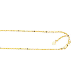 10K 22-inch Yellow Gold 1.50mm Shiny Diamond Cut Adjustable Sparkle Chain with Lobs ter Clasp 025ASC-22