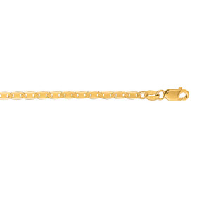 10K 24-inch Yellow Gold 2.30mm Diamond Cut Mariner Link Chain with Lobster Clasp 065M-24