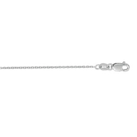 10K 18-inch White Gold 1.1mm Diamond Cut Cable Chain with Lobster Clasp 030WLCAB-18