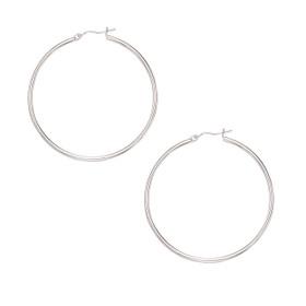 10K White Gold 2.0X50mm Shiny Large Round Hoop Earring 255RW