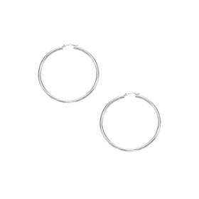 10K White Gold 2.0x40mm Shiny Round Hoop Earring 262WLT