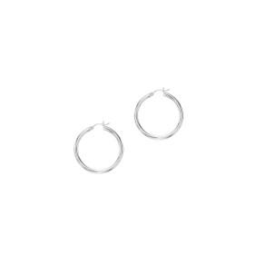 10K White Gold 2.0x25mm Shiny Round Hoop Earring 375ER