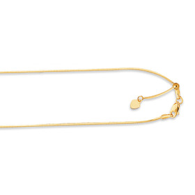 14kt 22-inch Yellow Gold .85mm Diamond Cut Adjustable Octagon Chain with Lobster Cla sp AOCT1-22