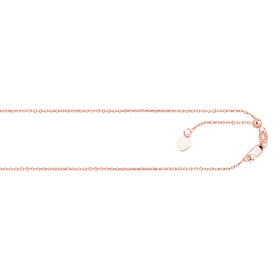 14kt 22-inch Rose Gold 0.9mm Diamond Cut Adjustable Cable Chain with Lobster Clasp+ Small HEarRingt Charm APKCAB1-22
