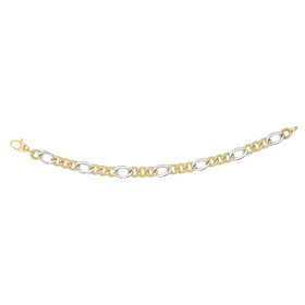 14kt 7.5-inch Yellow+White Gold 7.8mm Alternate 3 Short Textured Yellow+1 Long White Twisted Oval Link Fancy Bracelet with Fish Clasp AUF1052-0750