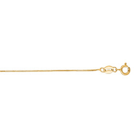 14kt 13-inch Yellow Gold 0.6mm Shiny Classic Box Chain with Spring Ring Clasp BOX040-13