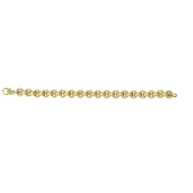 14kt 8-inch Yellow Gold Shiny Diamond Cut 9.75mm Round Rolo Type Bracelet with Fancy Fleur De Lis Clasp AUF1032-08